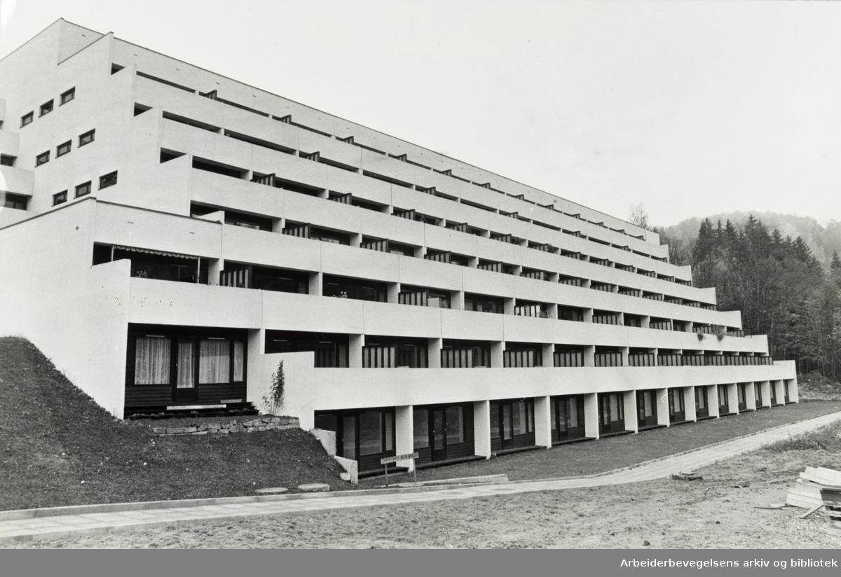 Ljan. Terrasseleiligheter i Herregårdsveien. Oktober 1978