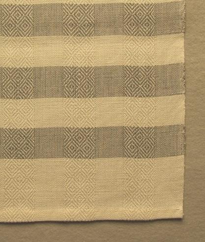 """Handduk vävd med tuskaft och gåsögon i ränder i varpriktningen samt halvblekta och färgade tvärränder i inslagsriktningen. Ränderna är 25 mm breda. Varpen består av tvåtrådigt blekt bomullsgarn och inslaget av entrådigt halvblekt och färgat lingarn. Handduken med inv.nr.0005:1 har grå rand, 0005.2 har turkos, 0005.3 har gul och 0005:4 är enfärgad gul.  Handduken har en pappersetikett fastknuten med texten:""""Gås"""" tuskaft gåsögon, material bomg 16/2 ling 16/1, form/ursprung Ann-Mari Nilsson, pris ej till salu"""". På andra sidan är det en tryckt spånfågel med texten """"Länshemslöjden SKARABORG SKÖVDE"""". Handduken har en tråcklad smal fåll i vardera kortsidan. Mitt på ena kortidan är ett smalt vitt band fastsytt som hank.  Handduken med modellnamnet Gås är formgiven av Ann-Mari Nilsson och tillverkad av Länshemslöjden Skaraborg. Den finns med  på sidan 16 -17 i vävboken Inredningsvävar av Ann-Mari Nilsson i samarbete med Länshemslöjden Skaraborg från 1987, ICA Bokförlag. Se även inv.nr. 1-4,6-40."""