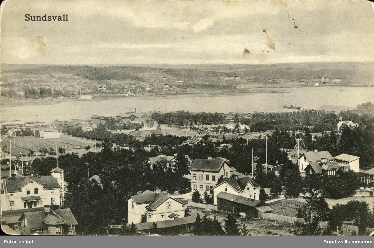 Vykort med motiv över Sundsvall.