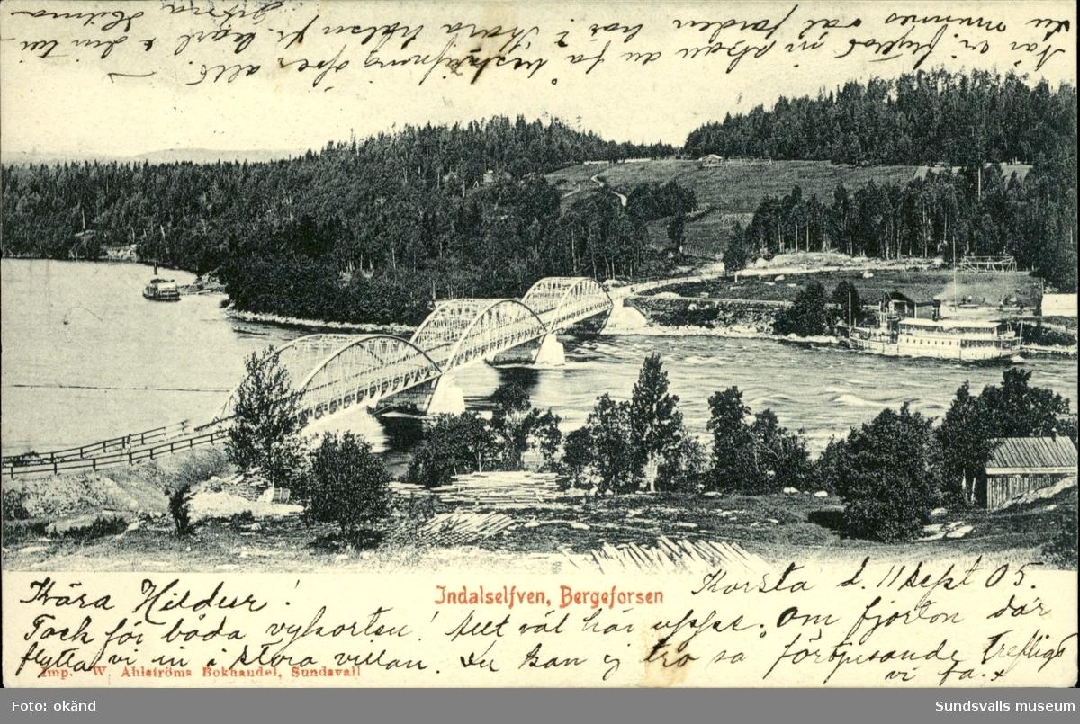Vykort med motiv över bron vid Bergeforsen.