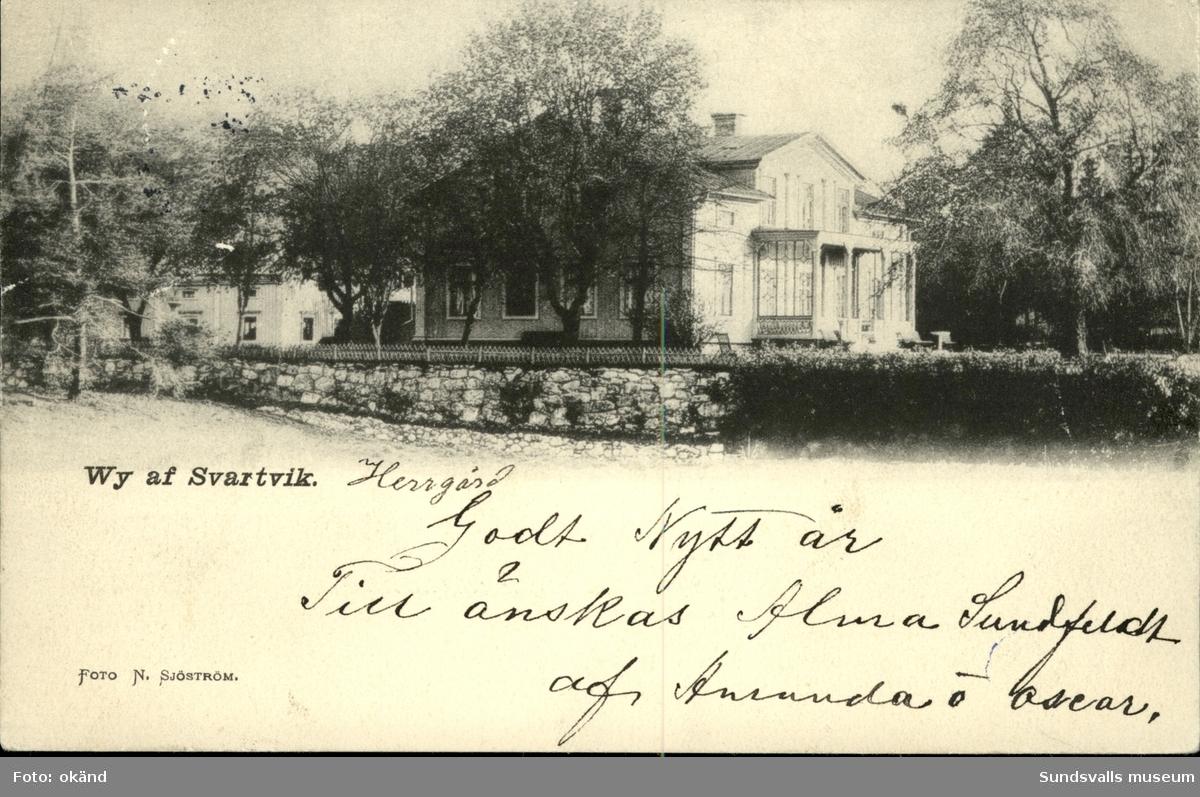 Vykort med motiv över Svartviks herrgård utanför Sundsvall.