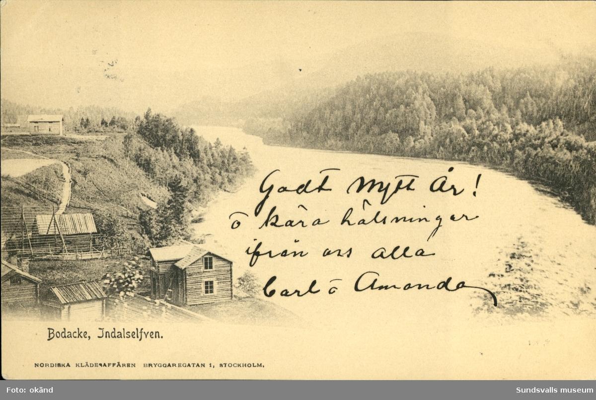 Vykort med motiv över Indalsälven vid Bodacke.