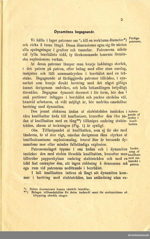 """Grupp MV.  Tryckt skrift """"Dynamit, Nobels krut,"""" Stockholm 1875."""