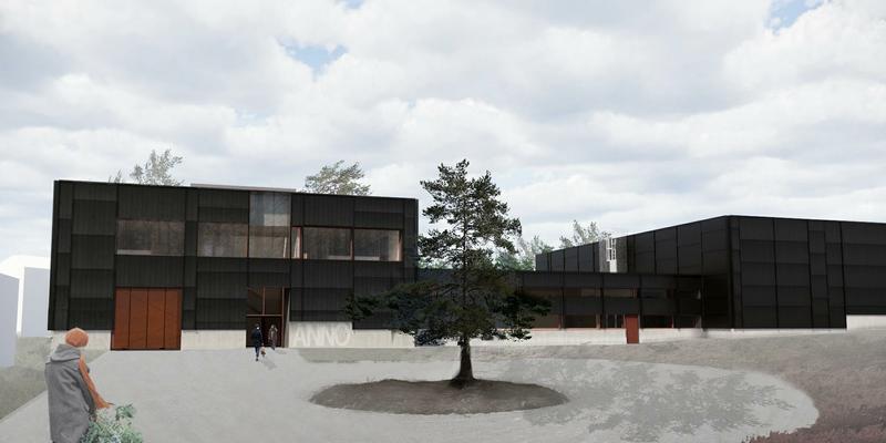 Arkitekttegning av adkomsten til det nye dokumentasjonssenteret som Anno skal bygge ved Glomdalsmuseet. (Foto/Photo)