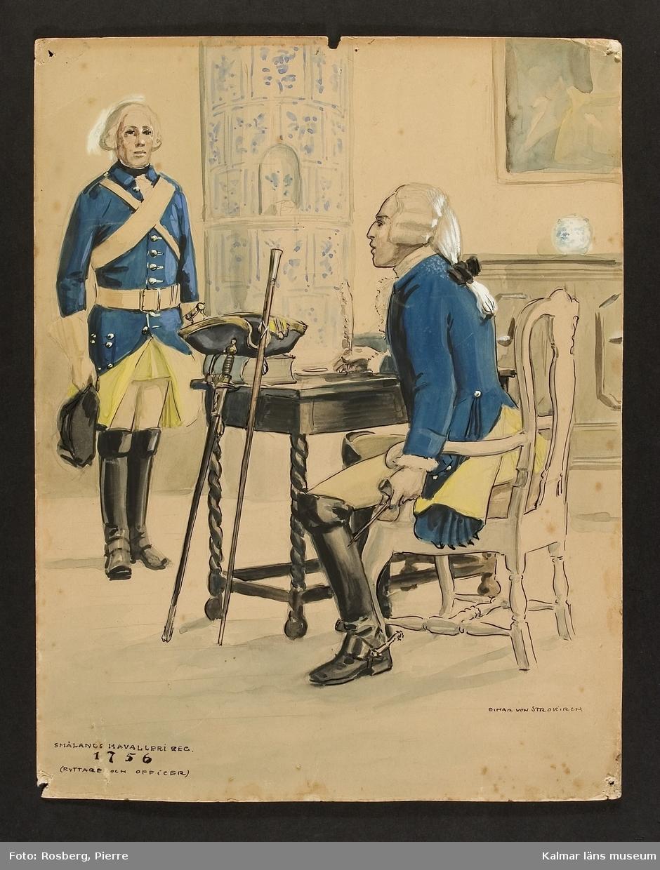 Motiv med uniformsbild, ryttare och officer som visar mundering, utrustning, uniform och tillbehör vid Kungliga Smålands husarregemente 1756. Interiör med skrivbord, i hörnet en kakelugn.