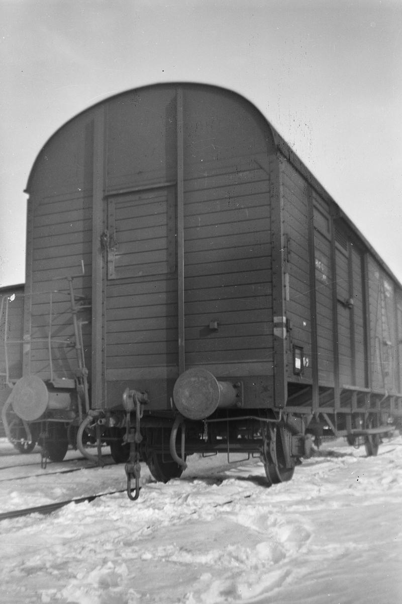 Endeparti med bremseplattform på normalsporet godsvogn type G4.