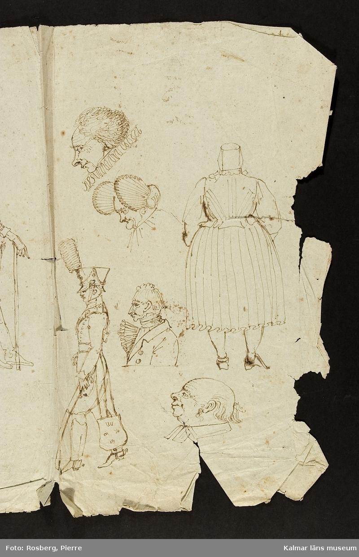 Mansprofiler samt en man i uniform och en kvinna.