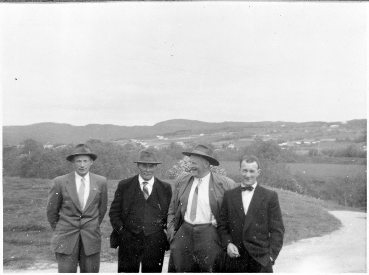 Fire menn på vei til 17. mai-feiring, Stadsbygd