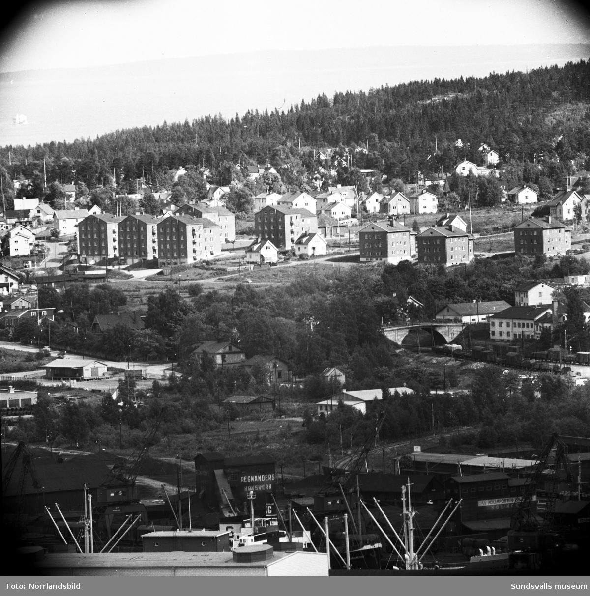 Vy mot Skönsmon med teleobjektiv. I nederkant södra kajen med Regnanders koksverk och Kolomporten Laurents. I bildens högerkant ser man bron där Mogatan gick över järnvägen.