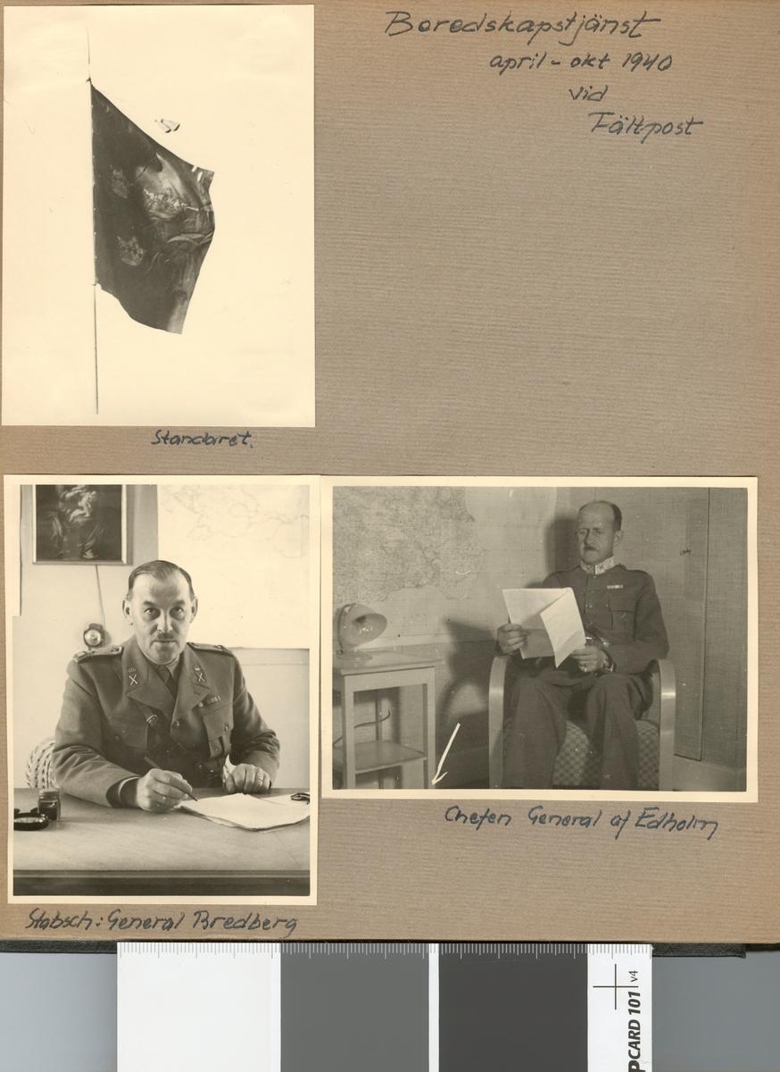 "Text i fotoalbum: ""Beredskapstjänst april-okt 1940 vid Fältpost""."