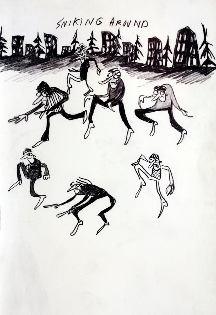 Hver tegning er en selvstendig liten fortelling med absurd humor. Med en lett, nesten naivistisk strek, fremstilles dyr, mennesker og kimærer (halvt menneske og halvt dyr) i uvante og forknytte situasjoner.