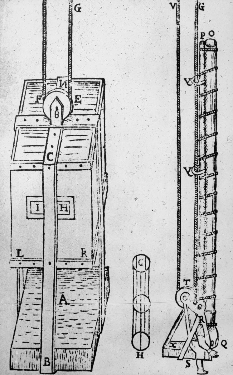 Avfotografert trykk som viser teknisk tegning av løfteinnretning under vann, ant. 1700-1800-tallet.