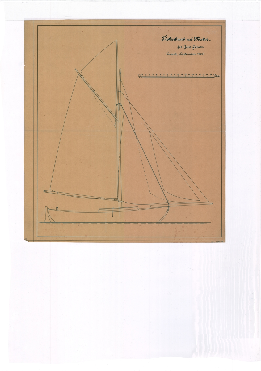 Arrangementstegning motorfiskeskøyte til Jens Jensen.