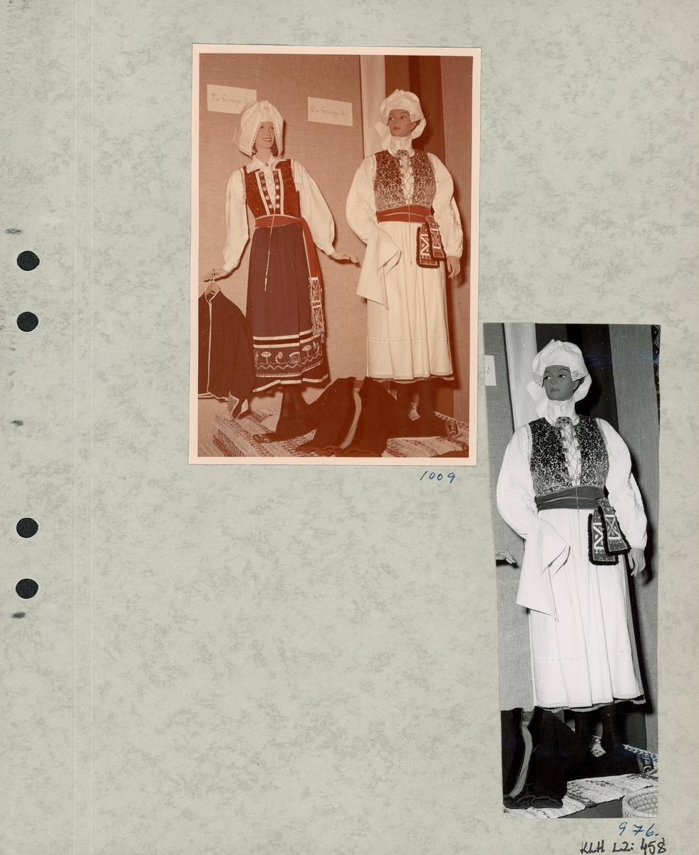 Kartongark med två foton av kvinnodräkt.