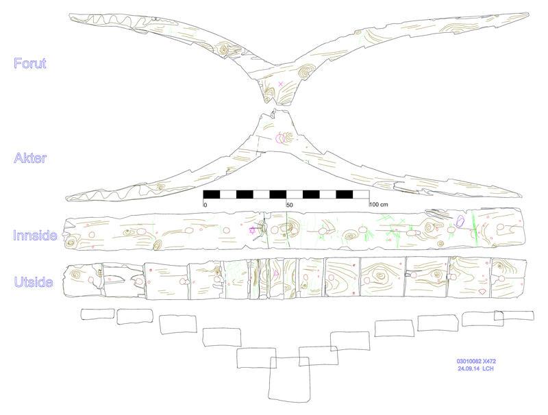 De fire sidene av en bunnstokk, basert på en 3D-tegning fra et skip fra 1500-tallet, funnet i Bjørvika i Oslo, presentert etter hverandre. Outlines av delen samt streker innenfor outlinen gjengir delens form samt festemidler, verktøyspor, skader og annet som er observert på skipsdelen.