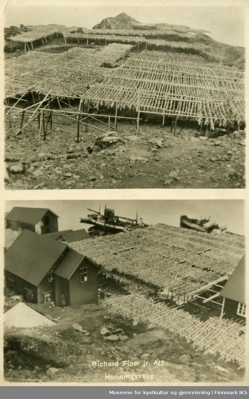 Postkortmotiv. Storbukt. Floerbruket med fiskehjeller, bebyggelse og skip ved kaia. Ca. 1935.