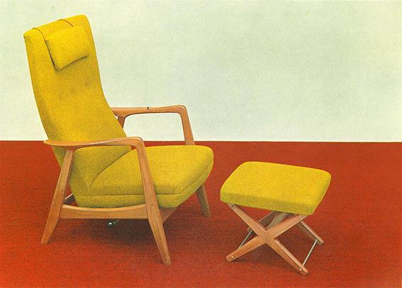 Den originale Rockestolen ble en trendsetter – og Arnestad Bruks mest kjente produkt. Her ser vi modellen Siesta. Bildet er fra en reklamebrosjyre og er utlånt av Per Rohde Natvig, hentet fra Vollen Historielags årbok. (Foto/Photo)