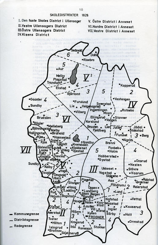 Skoledistrikter i Ullensaker i 1828.