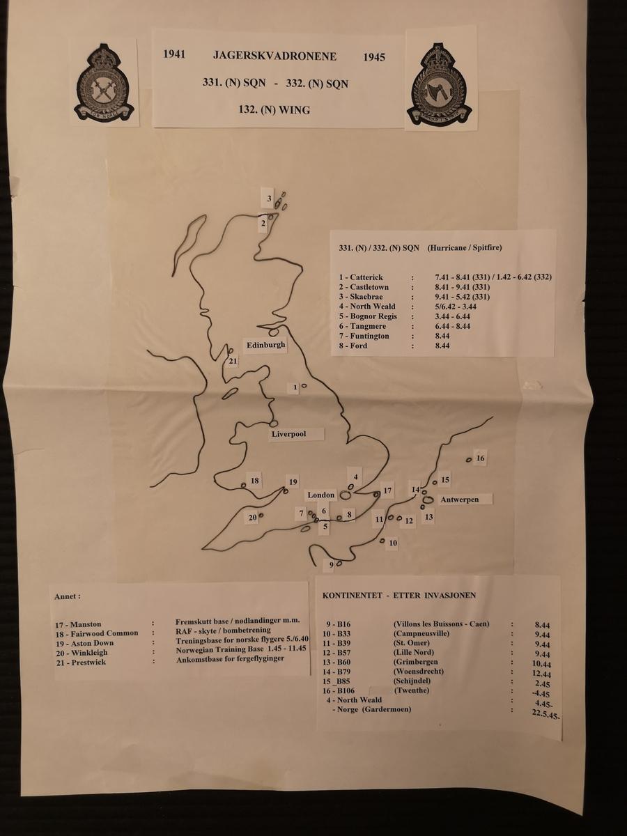 """""""Hjemmelaget"""" kart som viser plassering av 331 og 332 skv i England under 2. Verdenskrig."""