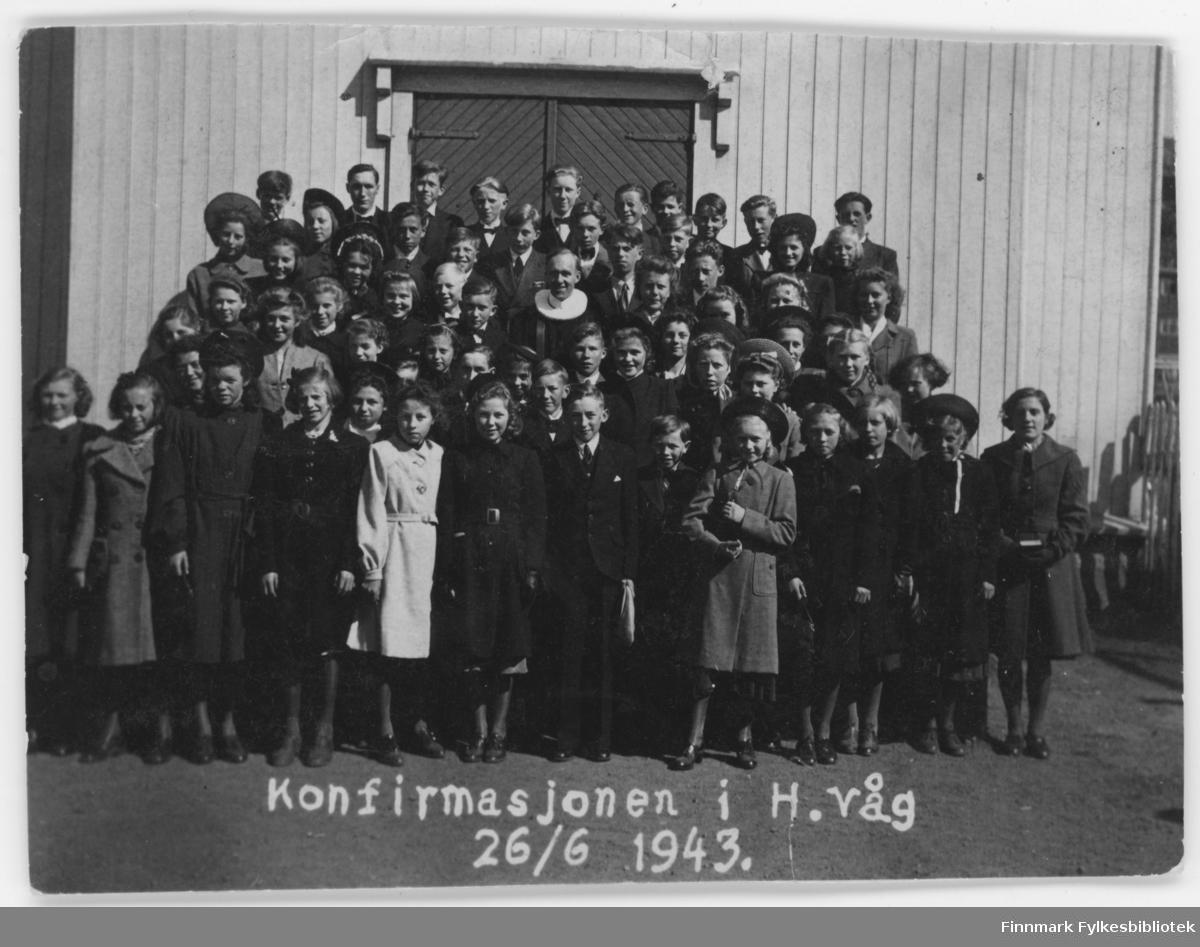 Konfirmasjon i Honningsvåg, 26.6.1943.