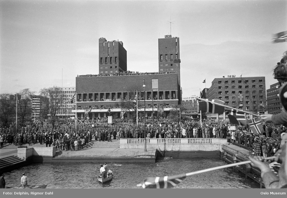 honnørbrygge, mennesker, flagg, Rådhuset, kontorbygning