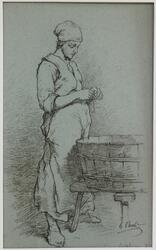 Fransk bondkvinna [Teckning]