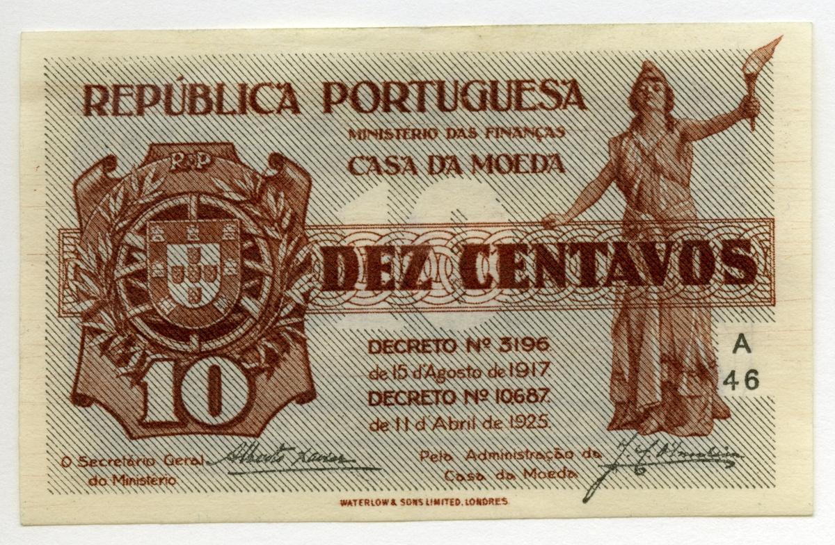 10 Centavos 1925 nödsedel Portugal.  Nr: A 46