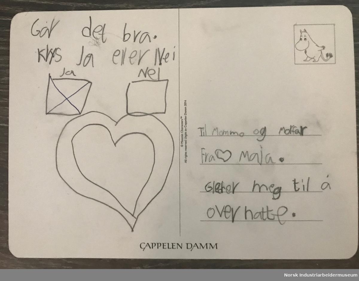 Postkort fra barnebarn til besteforeldre.   Dette postkortet hadde Maja på 8 år lagt i postkassa vår. Hun bor 200 m i luftlinje fra oss, men pga coronaen har vi vært adskilt disse ukene.  Vanligvis sees vi nesten hver dag, så dette er rart og trist.