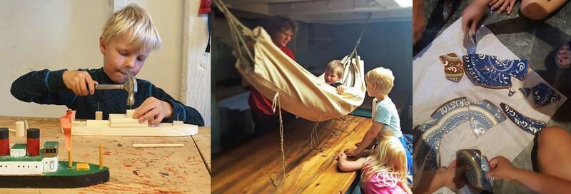 Collage med tre bilder; Gutt med hammer, som bygger en klossebåt. Et barn i en hengekøye, med barn rundt. Og hender til barn som setter sammen keramikktallerkener.