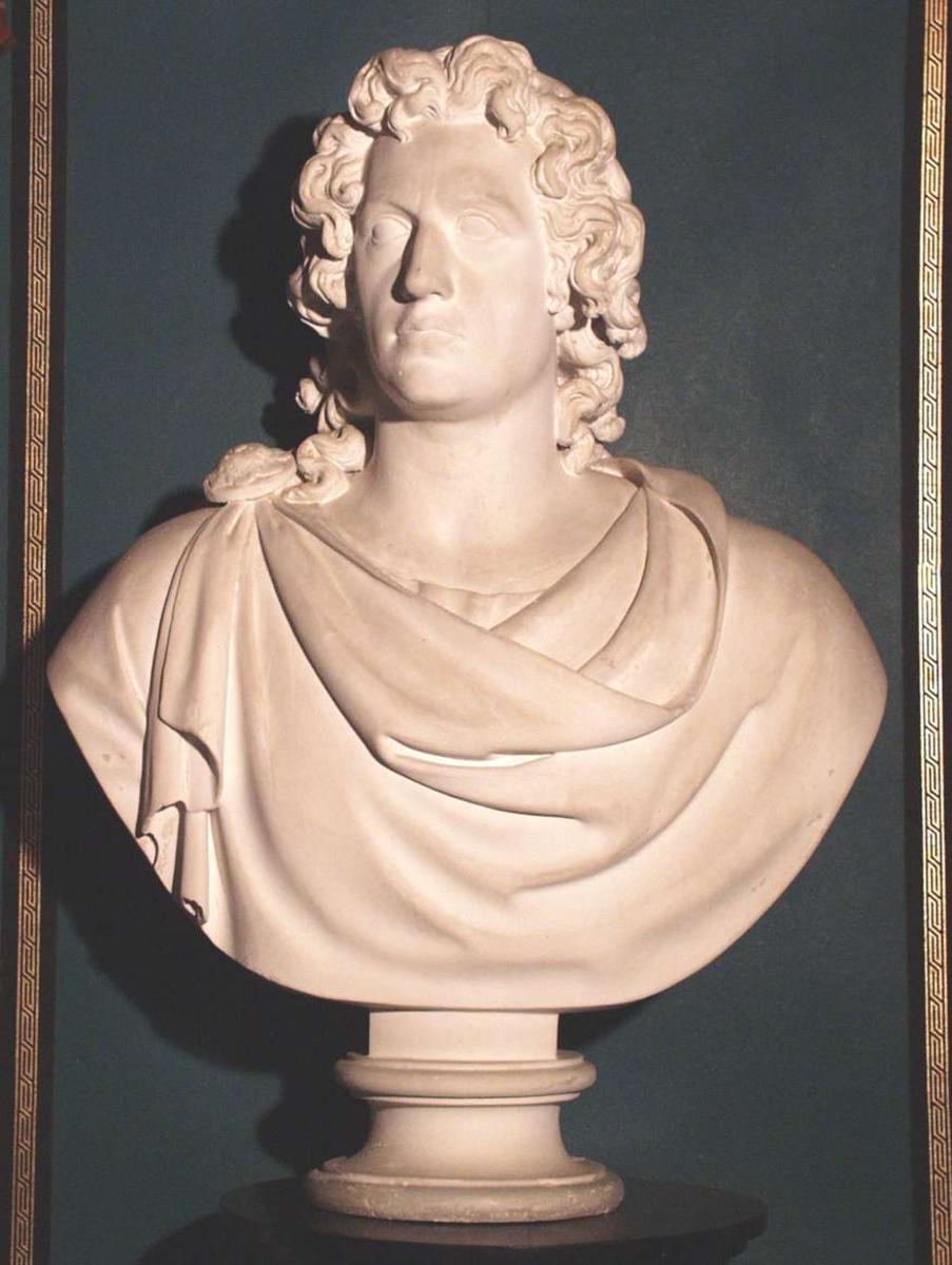 Forfatteren Goethe kledd ut som guden Apollon. Drapert klede rundt overkropp. Kruset hår.