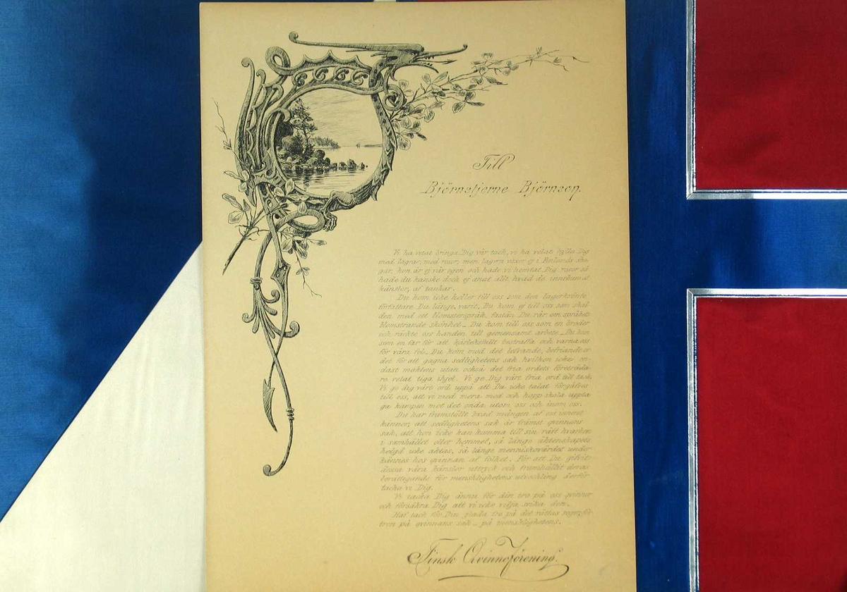 Adresse med mappe i bjørkenever, fôret med silke i finske og norske farger.