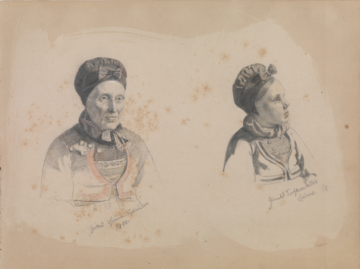 Gjertrud Skjønne og Gunhild Torstensdatter Skjønne [Tegning]