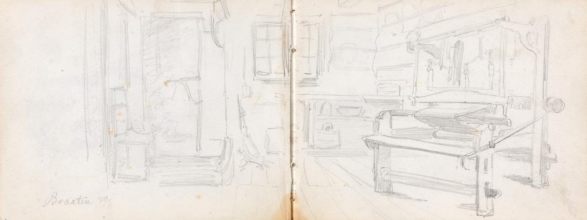 Interiør med vevstol, Bråten [Tegning]