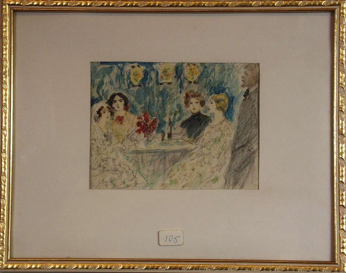 Fire damer og en herre ved et bord.