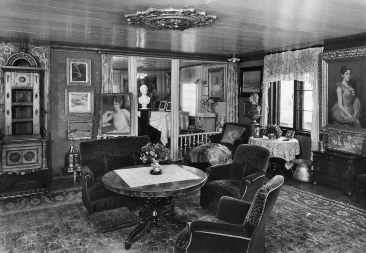 Aulestad, interiør, stue, salong, teppe, postkort,