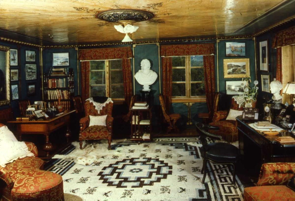 DOK:1960-tallet, Aulestad, interiør, arbeidsværelse, byste, skrivebord, teppe, kontor,