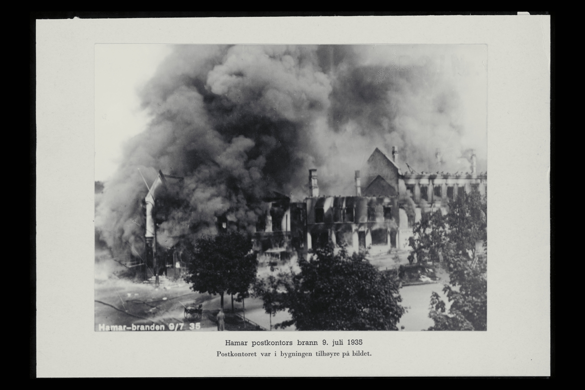 eksteriør, postkontor, 2300 Hamar, brann
