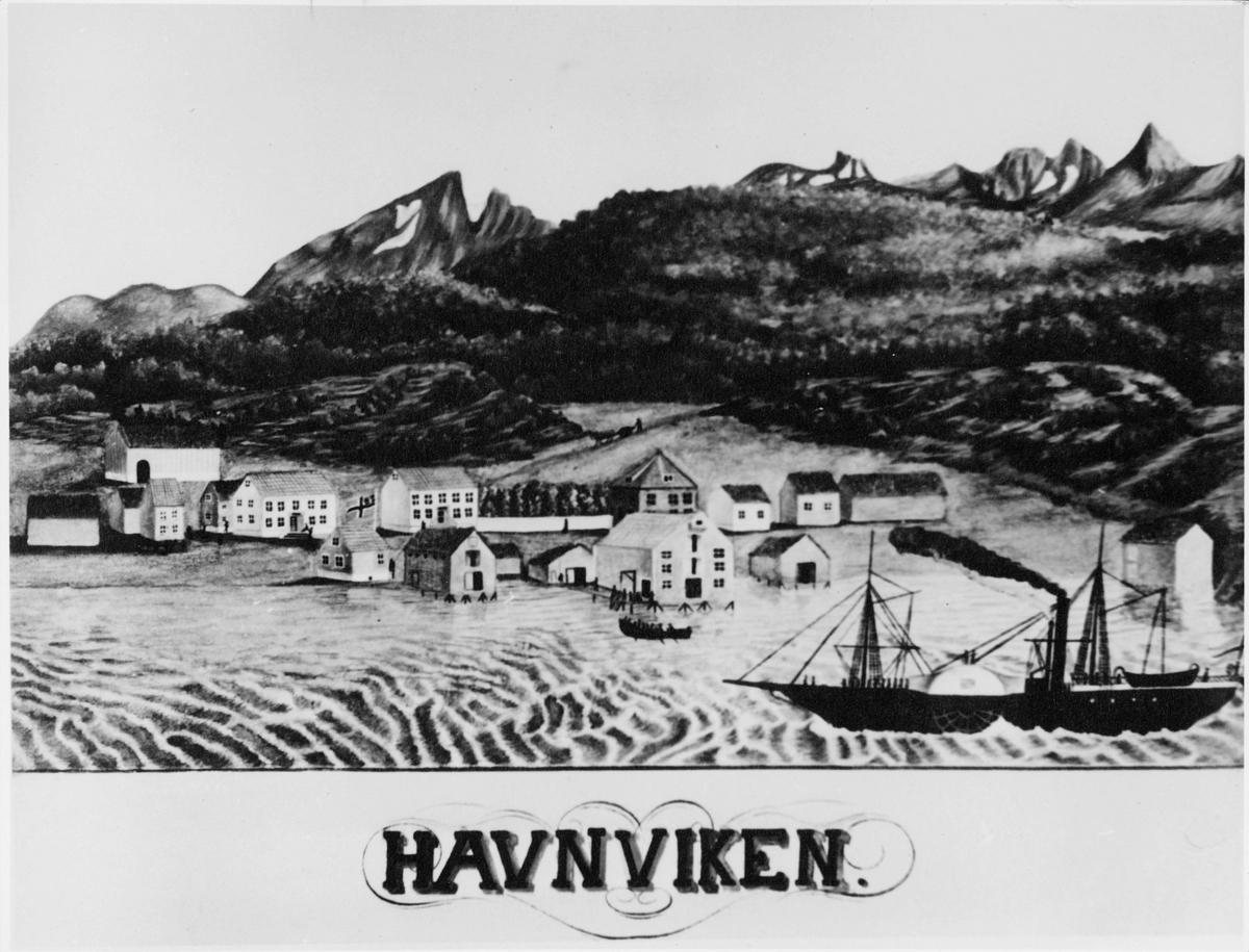 tegning på kort, Havnviken, båter, Prinds Gustav, hus