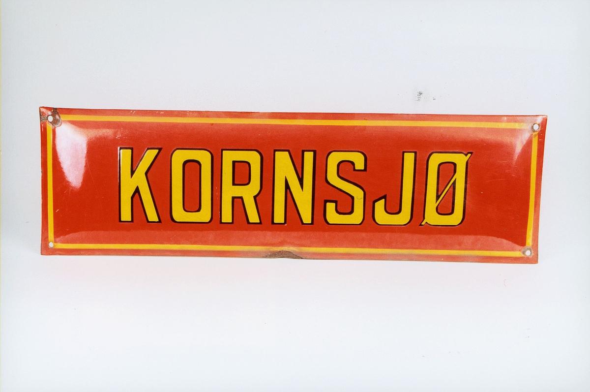 Postmuseet, gjenstander, skilt, stedskilt, stedsnavn, Kornsjø.