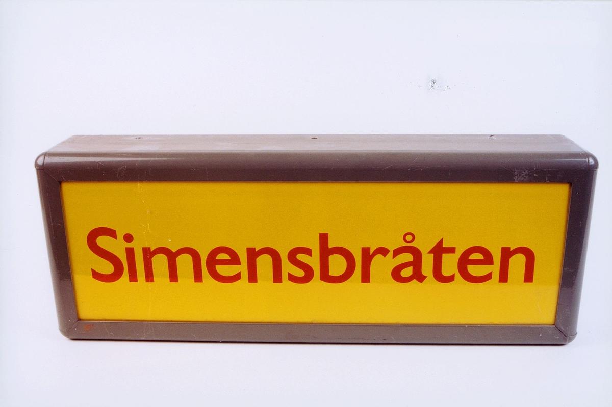postmuseet, gjenstander, skilt, stedskilt, stedsnavn, Simensbråten