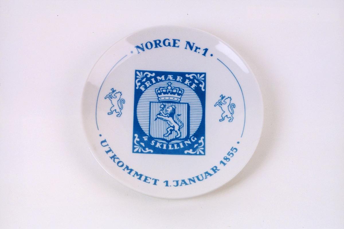 postmuseet, gjenstander, platte, frimerkeplatte, 4 skilling, Norge nr. 1, utkommet 1. januar 1855