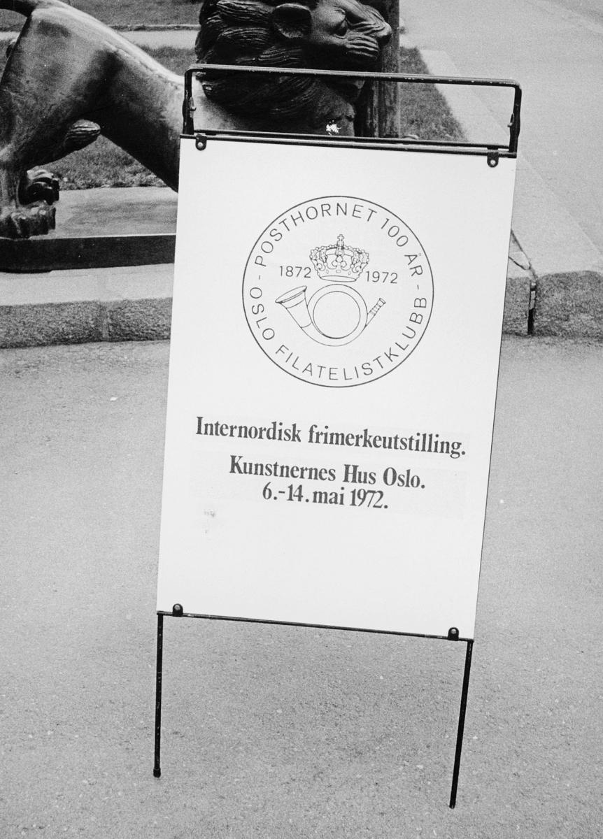 markedsseksjonen, Internordisk frimerkeutstilling, Kunstnernes Hus, Posthornet 100 år, Oslo Filatelistklubb, eksteriør