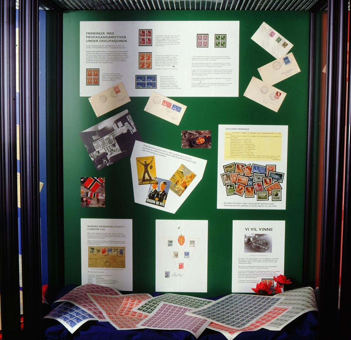 postmuseet, Kirkegata 20, utstilling, frimerker, frigjøringsjubileet, 8. mai 1995, frimerker med propagandamotiver under okkupasjonen, norske frimerker utgitt i London 1943, vi vil vinne