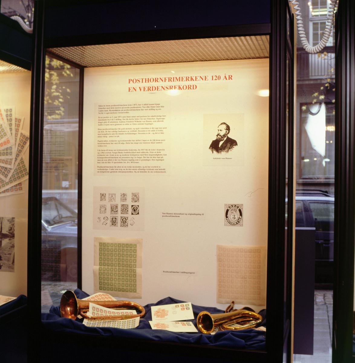 postmuseet, Kirkegata 20, utstilling, posthornfrimerker, arkitekt von Hanno, posthorn