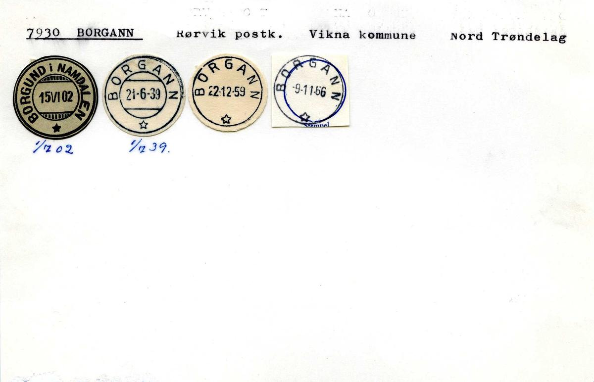 Stempelkatalog, 7930 Borgann, Rørvik, Vikna, Nord-Trøndelag