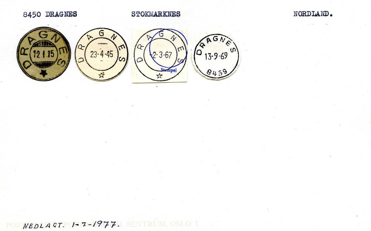 Stempelkatalog,8450 Dragnes, Stokmarknes, Nordland. (Dragnes landpoststasjon fra 1.7.1977)