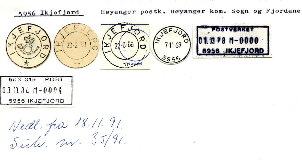 Stempelkatalog.5956 Ikjefjord. Høyanger postkontor. Høyanger kommune. Sogn og Fjordane fylke.