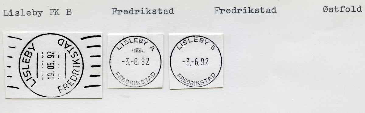 Stempelkatalog, 1660 Lisleby, Fredrikstad, Fredrikstad kommune, Østfold