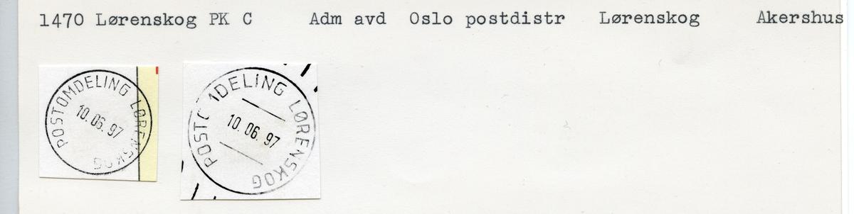 Stempelkatalog, 1470 Lørenskog, Oslo postdistrikt, Lørenskog kommune, Akershus