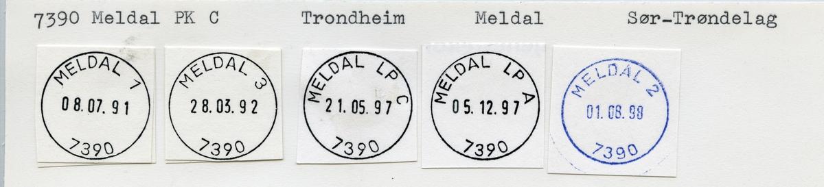 Stempelkatalog  7390 Meldal, Meldal kommune, Sør-Trøndelag